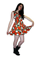 LADIES NEW SKULLS ROSES HEART BARBED WIRE ROCKABILLY SWING 50'S PARTY DRESS GOTH