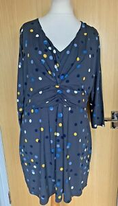 Boden Ladies Dress 20 R Jersey Smart Casual Day Work Spotty Polka Dot Occasion