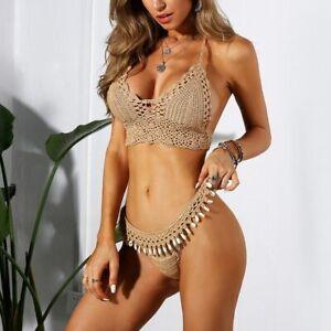 Triangle Bikini Top Woman Hollow Out Swimsuit Crochet Black Bikini Top Sexy