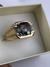 GREAT! New Men's 14K Yellow Gold Diamond & Mystic Topaz Ring Size 10