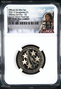 2021 S Proof Native American U.S. Military since 1775 NGC PF70 $1 coin ER S-Set