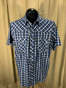 Mens Wrangler Western Shirt 2XL Blue PLaids S/S Cot/Poly Snaps Rockabilly Rodeo