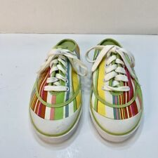 New listing Vintage Tommy Girl Canvas Sneaker Slip-Ons Rainbow Striped Lace Up Size 8M
