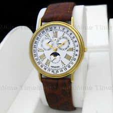 Men's Movado MUSEUM Calendar Triple Date Moon Phase Leather Gold Swiss Watch
