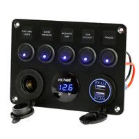 5 Gang 12V/24V Inline Fuse Box LED Switch Panel Dual USB Car Boat Truck Camper