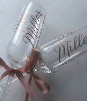 Personalised Champagne Flutes Glasses MR and MRS Gift Wedding,Bride,Groom