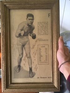 Vintage Joe Louis Autograph Program Sheet With Orther Signatures