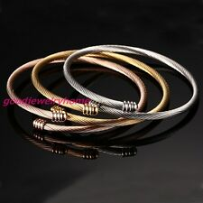 Steel Women's Cuff Bracelet Set 3Pcs Tri-Color Gold Silver Rose Gold Stainless