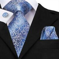 Blue Floral Mens Tie Silk Necktie Set Jacquard Woven Hanky Cufflinks Wedding