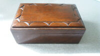 VINTAGE DOUBLE WOODEN PLAYING CARD / JEWELLERY CASE / BOX 7 X 4 1/2 X 3 INCH