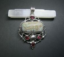 Natural, Ruby in Zoisite and Pink Topaz Gemstone Pendant - 925 Stamped.