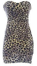 TOPSHOP PETITE Women's Brown/Multi Jaguar Strapless Dress 10N28Y US Size 4 NWOT