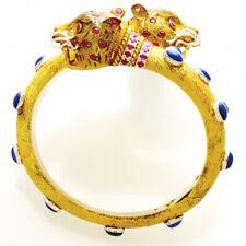 DIAMOND RUBY SAPPHIRE PANTHER BRACELET | 14K GOLD HINGED BANGLE