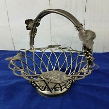 Vintage Godinger Silver Plated Wire Basket Grape Bunches Leaves Movable Handle *