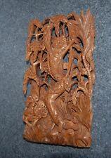 asiatische Schnitzerei Holz Bali Thailand Göttin 3 D Holzrelief handgeschnitzt