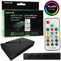 Game Max RGB LED Fan Controller Hub 6 Port 3 Pin Aura Sync 3pin Power PWM Remote
