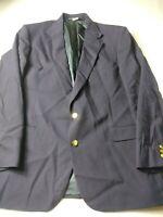 John Clarendon Mens Blazer Size 44L Blue Two Gold Tone Button Vented 100% Wool