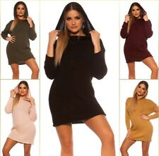 Koucla Knitted Dress Knitted Pullover Knitted Mini Dress With Hoodie