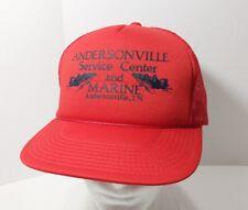 Vtg Andersonville Service Center Marine Tenn Snapback Red Trucker Hat Cap