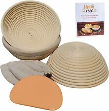Neykit Chef Set of 3 Round 9 Inch Bread Banneton Proofing Basket