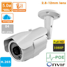 5MP IP Camera Outdoor Varifocal lens 2.8-12mm  POE   ONVIF 1080P H.265 84 Leds