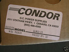 Condor GLM65-15 DC Power Supply NEW  15 volts 65 watts