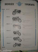 Horex Typentafel von 1948 - 1953 Regina, SB 35, sport, 1, 2, 3 ( 6 Typen Plakat
