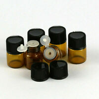 50Pcs 1ml 16x21mm Amber Tiny Small Glass Empty Oils Bottles Vial With Screw Cap