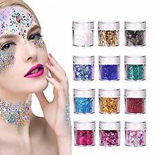 Chunky Festival FaceGlitter 12 Boxes Flakes Colorful Mixed Makeup Face Nail Art