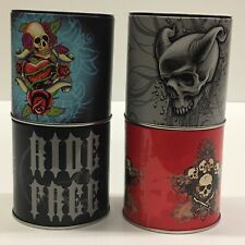 ASHTRAY CAN WITH REMOVABLE LID W/BIKER DESIGNS 4-pcs
