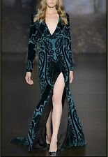 Burn-out Silk Velvet Fabric Dark Green Printed Silk Georgette  for Dress scarf