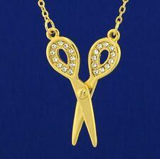 W Swarovski Crystal Scissors Hair Stylist Sewing Cute New GP Pendant Necklace