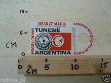 STICKER,DECAL WK ARGENTINA 1978 VOETBAL,SOCCER JH HENKES TUNESIE A