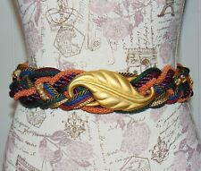 Vintage Ginnie Johansen Designer 80's Multi-Color Braided Rope Belt