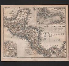 Landkarte map 1876: WESTINDIEN UND ZENTRAL-AMERIKA. Central-America