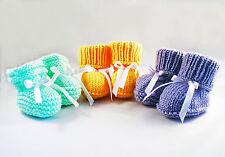 Pantoufles Chaussons Tricot Bébé Naissance Baptême Baby Knit Slippers Handmade