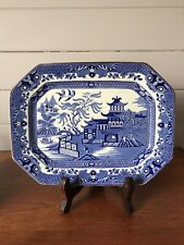 Vintage Burleigh Ware Porcelain Willow Blue Willow Small Platter Made In England