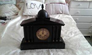 ANTIQUE FRENCH BLACK SLATE  MANTLE CLOCK