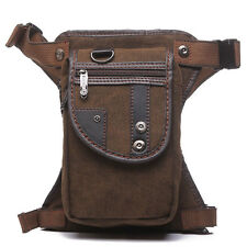 Men's Canvas Travel Hiking Riding Motorcycle Fanny Pack Waist Leg Thigh Drop Bag