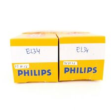 2 X EL34 TUBE. PHILIPS BRAND. OO GETTER ,TESLA PRODUCTION. MATCHED PAIR. CA #ENA