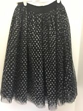 Girl's Harajuku Mini Black Tulle Skirt 7/8 Silver Stars Sparkle Holiday
