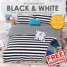 SOL HOME 4PCS Bedsheet Set - King -Black & White- 1FS+1QC+2PC