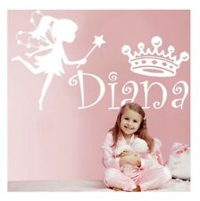 Fairy Personalise Name Crown for Girls Bedroom Vinyl Wall Art Sticker Decal