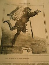 Caricature 1871 - Jean Ratapoil not middle from s'fly away