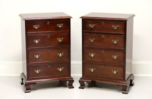 CRAFTIQUE Solid Mahogany Chippendale 4 Drawer Bedside Chests - Pair A