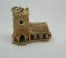 Large Heavy 9ct Gold Church With Wedding Party Charm