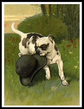 STAFFORDSHIRE BULL TERRIER AND BOWLER HAT LOVELY VINTAGE STYLE DOG PRINT POSTER
