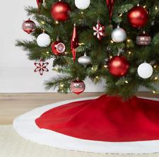 "WONDERSHOP Red Christmas Tree Skirt w/ White Trim - 48"" Diameter - Holiday Decor"
