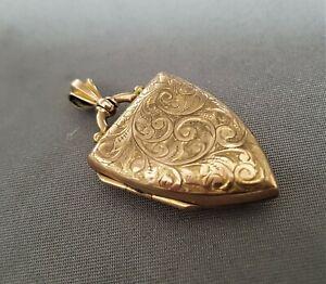 ANTIQUE 9CT ROSE GOLD LOCKET. SHIELD SHAPE. 1905 2.6CM. 3.52 GRAMS.   ref:xabod%