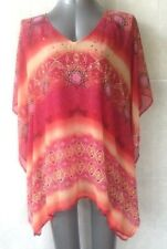 Rockmans Stunning Kaftan Top with Cami, Fuchsia, Orange, Pink Size S/M 10-12